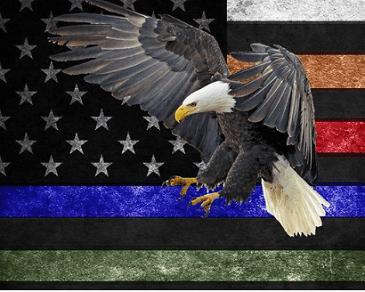 First Responder Red Blue Line Eagle