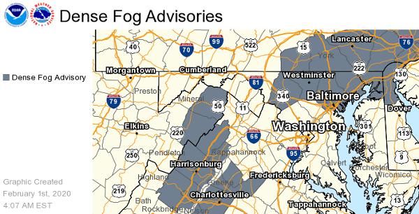 NWS Baltimore Dense Fog Advisory 20200201