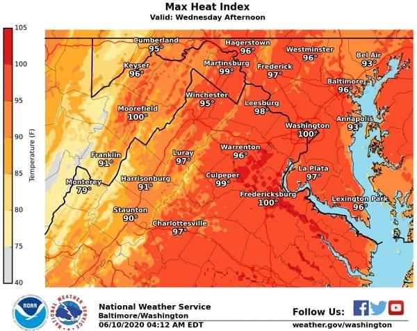 NWS Maryland Heat Index 20200610