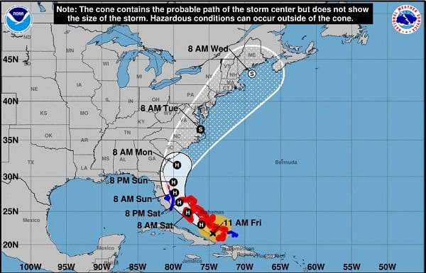 Hurricane Isaias Projected Path 20200731