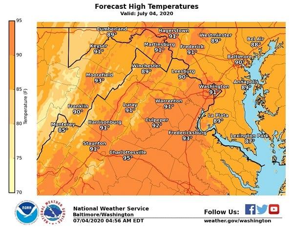 NWS Maryland High Temp 20200704