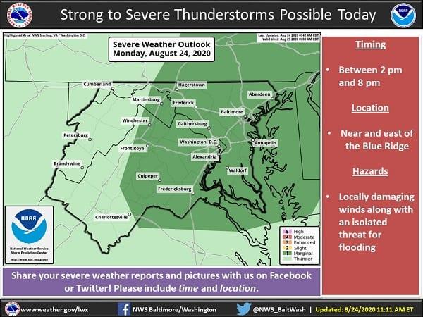 NWS Maryland Storm Probability 20200824