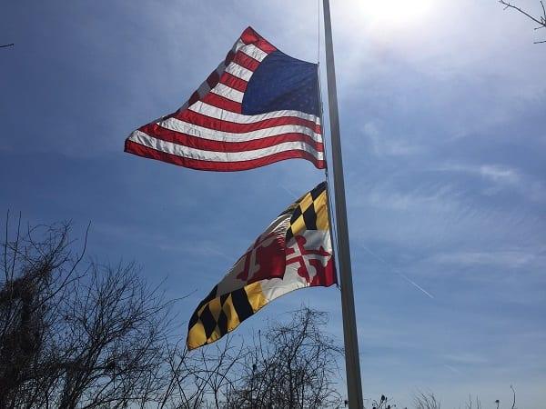 American Maryland Flag Half Staff