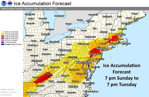 NWS Eastern Ice Accumulation Forecast 20210214