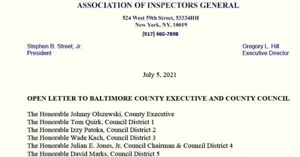 Association of Inspectors General Letter to Johnny Olszewski 20210705