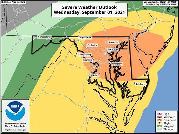 Ida Severe Storm Probability Maryland 20210831
