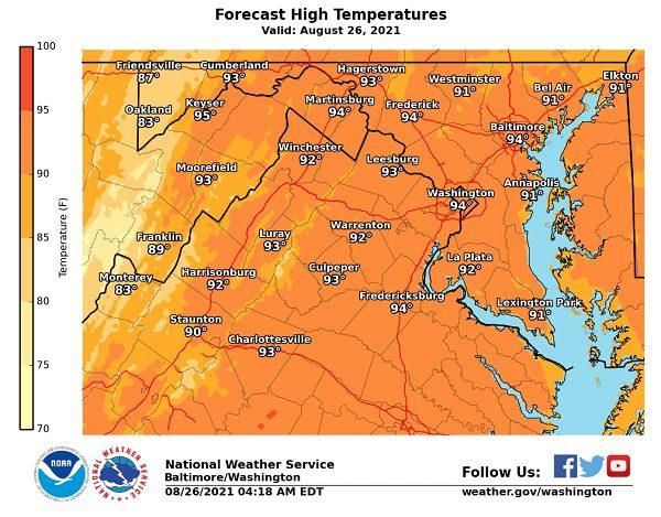 NWS Baltimore Forecast High Temp 20210826