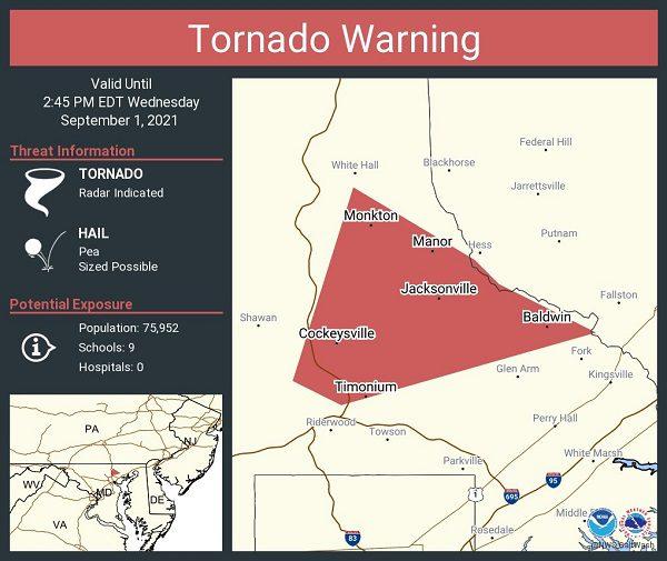 NWS Baltimore County Tornado Warning 20210901