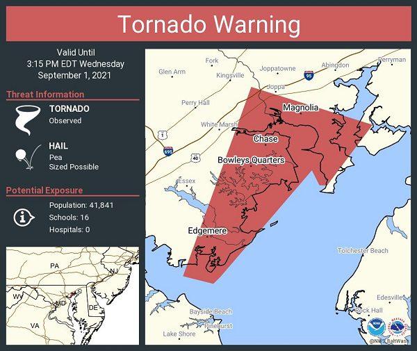 Tornado Warning Middle River MD 20210901