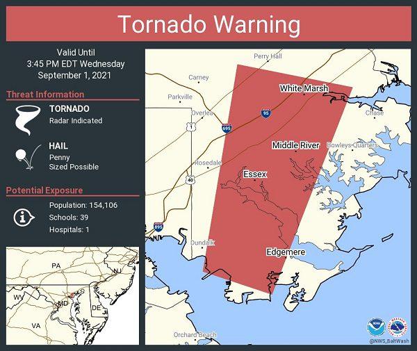 Tornado Warning White Marsh Essex Perry Hall 20210901